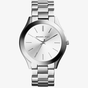 Michael Kora Slim Runway Silver-Tone Watch